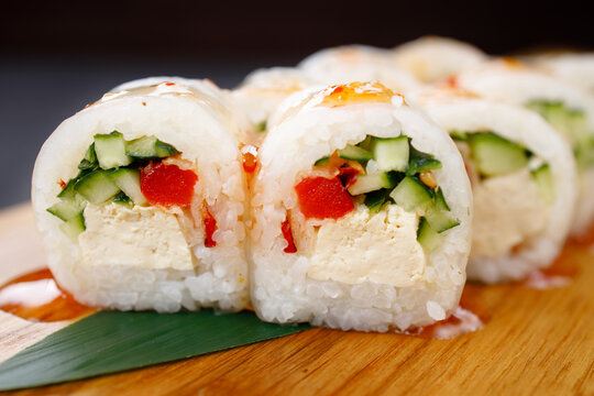Sushi rolls with vegetables and tofu, vegan food