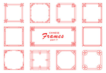 Asian frame set in vintage style on white background. Traditional chinese ornaments for your design. Vector red japanese pattern. Artwork graphic, asian culture decoration. Fototapete