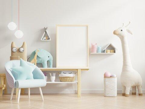 Mock up poster frame in children room,kid room,nursery mockup.