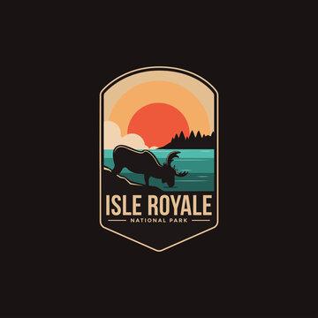 Emblem patch logo illustration of Isle Royale National park on dark background