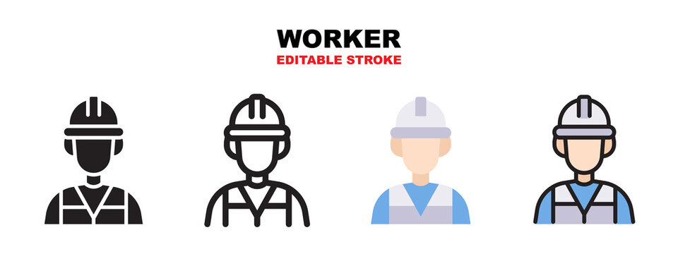 Worker icon set with different styles. Editable stroke and pixel perfect.