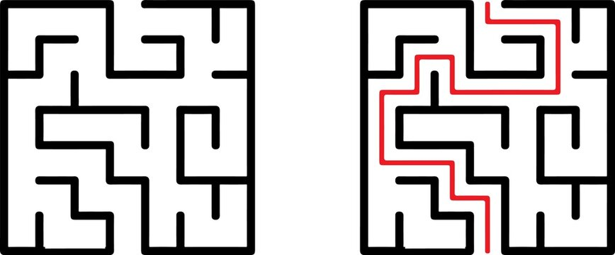 Vector labyrinth. Maze or Labyrinth. Vector illustration.Education logic game labyrinth for kids. Find right way. Isolated simple square maze black line on white background. With the solution