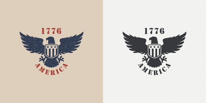 Set of color illustrations of an eagle, a shield with stars and text on a background with a grunge texture. Vector illustration in vintage style for emblem, poster, print, label. Symbols of the USA.