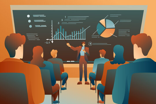 A modern class at a lecture, a male teacher at a large blackboard talks about logistics. Infographics on the blackboard, educational concept, modern design. Indoor study, educational lectures.