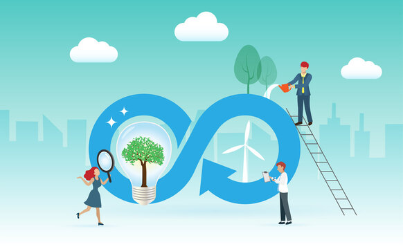 Circular economy symbol with lightbulb, wind turbines with people working on. Sustainable strategy to eliminate waste and pollution,