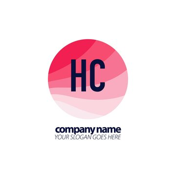 Initial Letter HC Colorful Circle Logo Design Template. Colorful circle colorful template logo