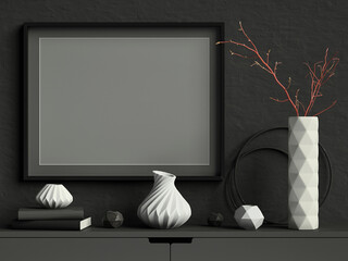 Black mock up poster frame on dark plaster wall with white ceramic vase with branches, books and geometric pots; landscape orientation; stylish frame mock up background; 3d rendering, 3d illustration