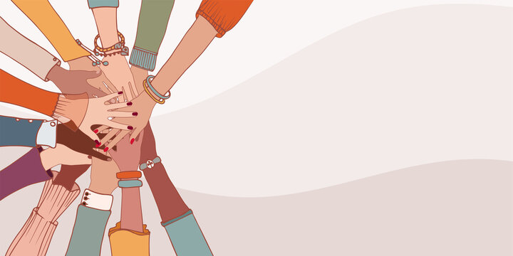 Diversity people. Group hands on top of each other of diverse multi-ethnic and multicultural people.Concept of teamwork community and cooperation.Diverse culture.Racial equality.Oneness