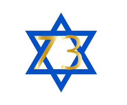 Star of David, Israel Independence Day. Yom Haatzmaut, 73th anniversary, Blue star with a numbers isolated on white background, design element..For Jewish greetings.