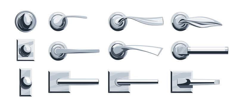 Door knobs icons set in flat style