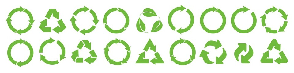 Fototapeta Ecology, environment symbol vector illustration. Recycle icon set obraz