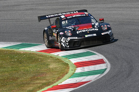 Scarperia, 25 March 2021: Porsche 911 GT3 R of Herberth Motorsport Team driven by Allemann-Bohn-Renauer-Renauer in action during 12h Hankook Race at Mugello Circuit in Italy.