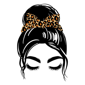 Messy hair bun with leopard bandana or headwrap, vector woman silhouette. Beautiful girl drawing illustration. Female hairstyle.