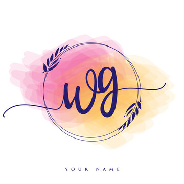 WG Initial handwriting logo. Hand lettering Initials logo branding, Feminine and luxury logo design isolated on colorful watercolor background.