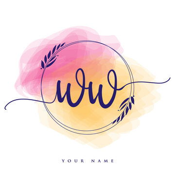 WW Initial handwriting logo. Hand lettering Initials logo branding, Feminine and luxury logo design isolated on colorful watercolor background.