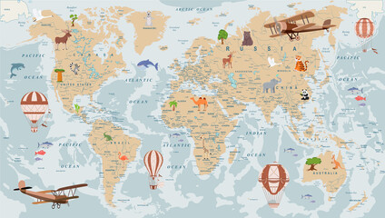 childrens retro world map with animals airplanes and balloons