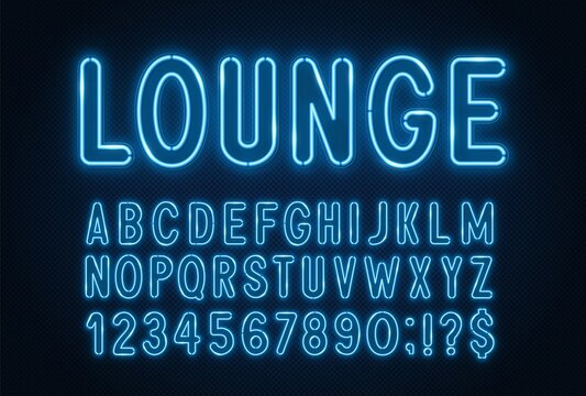 Blue neon light font on a dark background.