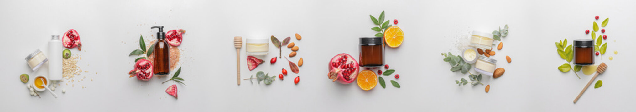 Set of natural cosmetic products on light background