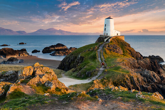 """Llanddwyn (Tŵr Mawr, meaning """"great tower"""" in Welsh) lighthouse on Anglesey, Wales"""