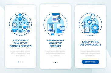 Consumer rights onboarding mobile app page screen with concepts. Reasonable products quality walkthrough 3 steps graphic instructions. UI, UX, GUI vector template with linear color illustrations