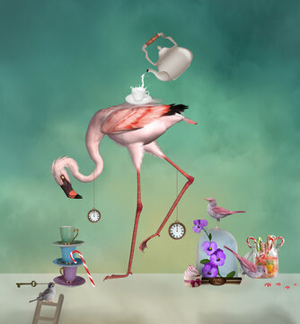Flamingo surreal tea party