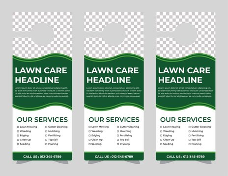 lawn care door hanger design template, hotel knob design. Vector door hanger.