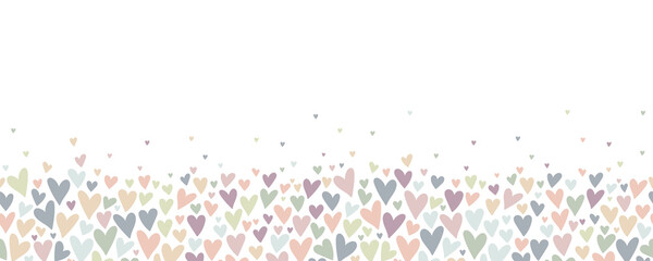 Fototapeta Lovely hand drawn doodle hearts seamless pattern, pastel colored hand drawn background, great for Valentine's or Mother's Day, textiles, banners, wrapping, wallpapers - vector design obraz