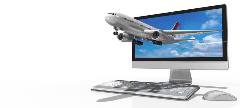 3d PC Tastatur mit Monitor und Flugzeug und Mouse. Flugreise online buchen, isoliert