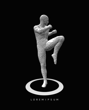 Kickbox fighter preparing to execute a high kick. Kickboxer figurine. Success and victory concept. Voxel art. 3D vector illustration.