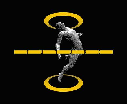 Man floating in the air. Take me higher. Meditating concept. Voxel art. 3D vector illustration.
