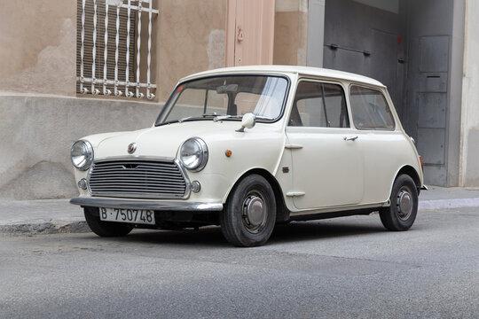 SABADELL, SPAIN-APRIL 6, 2021: Mark I Rover Mini Cooper 1000 AUTHI (aka Morris Mini or Austin Mini)