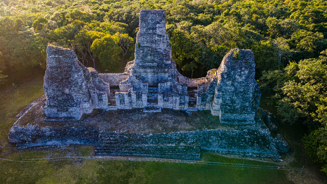 Aerial of the Maya ruins of Xpujil, Campeche, Mexico