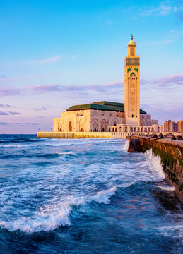 The Hassan II Mosque at sunset, Casablanca, Casablanca-Settat Region, Morocco, North Africa