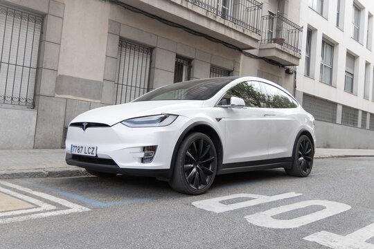 SABADELL, SPAIN-APRIL 6, 2021: Tesla Model X at City streets