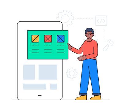 Web development - colorful flat design style illustration