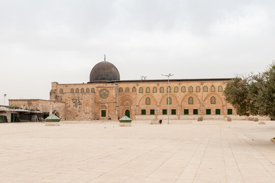 The side  wall of the Al Aqsa Mosque on the Temple Mount in the Old Town of Jerusalem in Israel
