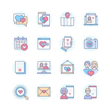 Internet dating - modern line design style icons set