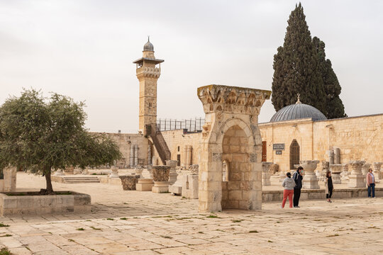 Mihrab Wa Mastabat Al-Sunawabar - pine prayer niche against the backdrop of the Muslim Museum and the corner minaret, on the Temple Mount, in the old city of Jerusalem, in Israel