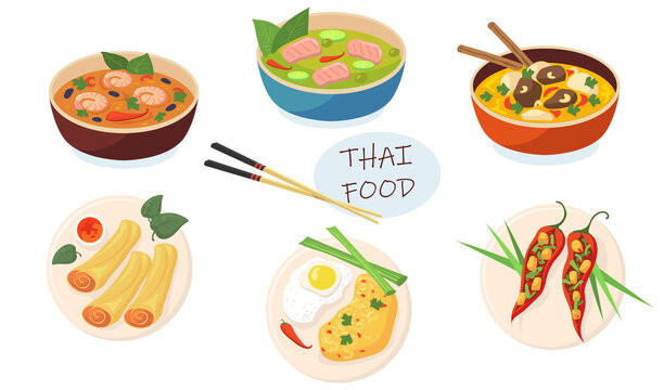 Spicy Asian dishes flat pictures set for web design. Cartoon delicious Thai food in plates and bowls isolated vector illustrations. Traditional food and meal concept