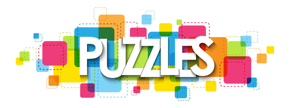PUZZLES colorful vector typography banner isolated on white background