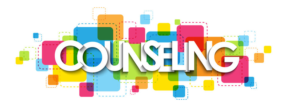 COUNSELING colorful vector typography banner isolated on white background
