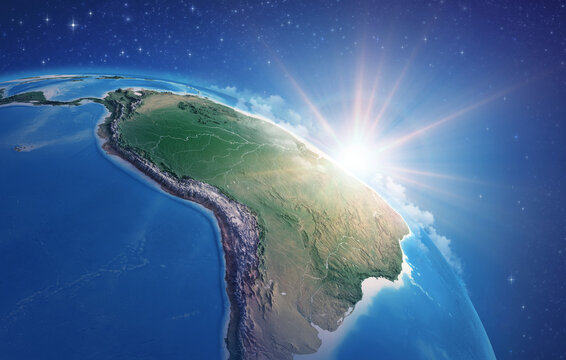 Sunrise through clouds, upon a high detailed satellite view of Planet Earth, focused on South America, Amazon rainforest and Brazil. 3D illustration - Elements of this image furnished by NASA