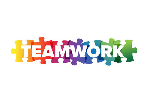 Teamwork Lettering  Made from Puzzle Pieces