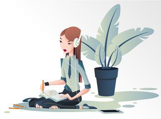 Fototapeta Młoda dziewczyna siedzi na podłodze i projektuje  w dużych białych słuchawka na uszach. Kobieta rysuje słuchając muzyki. Wektorowa ilustracja. obraz