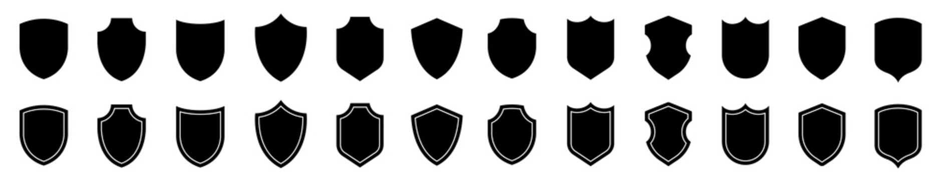 Shield icons collection. Protect shield set. Set of shields. Protection. Different shields.