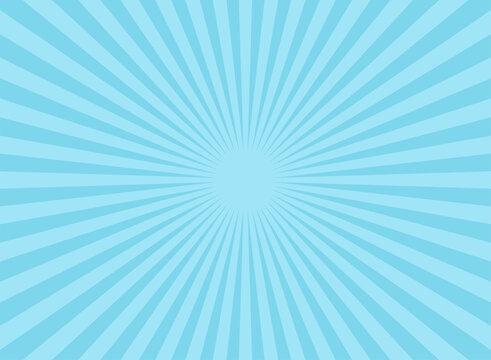 Sunlight wide horizontal background. Blue color burst background.
