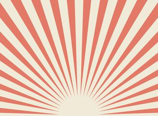 Obraz Sunlight retro wide horizontal background. Pale red and beige color burst background. - fototapety do salonu