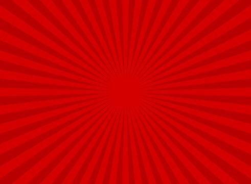 Sunlight retro wide horizontal background. Red color burst background.
