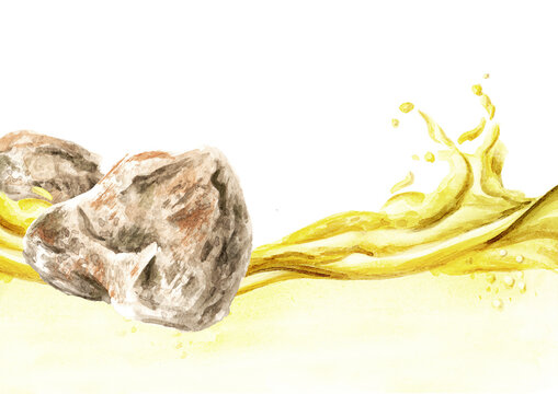 Ambergris, ambergrease, ambre gris or grey amber and essential oil wave. Watercolor hand drawn illustration, isolated on white background