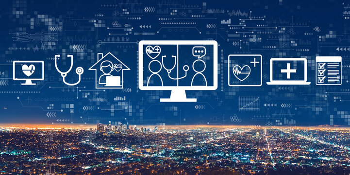 Telehealth theme with downtown Los Angeles